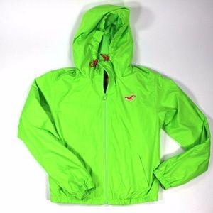Hollister windbreaker rain neon green jacket